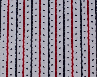 C2055A - 140cmx100cm Cotton Fabric - Stripe,heart and star on white