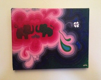 """Elephant Love Psychedelic Colorful Painting 
