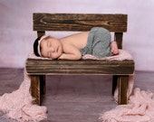 Distressed Wooden Park Bench Photo Prop, Dark Brown Rustic Bench