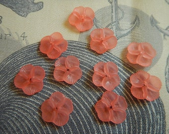 10 Pc Pansy Flower Beads Charms Pink Frosted Acrylic Dimensional Focal Jewelry