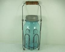 Vintage Blue BALL Canning Jar & WiRE HOLDER RUSTIC Wood Handle