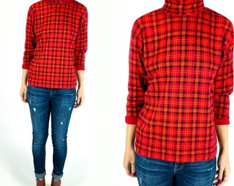 SUMMER CLEARANCE Vintage 1990s The Limited Bright Red Black Gold Plaid Long Sleeve Turtleneck Clueless Style Size S Small M Medium