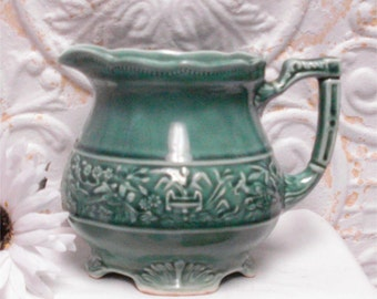 Green Footed Embossed Milk Pitcher Birds 5 Inch