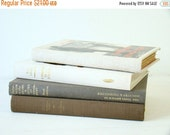 EOYC vintage linen bound book stack, books in neutral colors, smokey colored coordinated book set