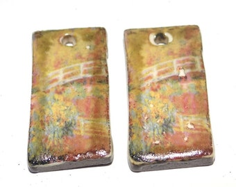 Unusual Monet Ceramic Earring Charms Pair Rustic Stoneware Pottery