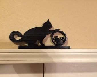 Cat with mouseDoor Topper in Black Handmade