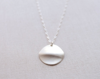 Rippled Disk Necklace, Wavy Disk Necklace, Ripple Disc Necklace, Handmade Sterling Silver Necklace, Ripple Effect Charm, Olive Yew - 1355