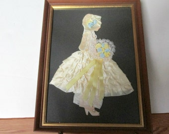 RESERVED -Two Framed Ribbon Lady, Pearl Details, Wood  Frame, Real Curl on Second Lady