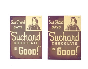 Two Suchard Chocolate Signs - Original Advertising - Signage