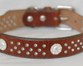 "Vintage Brown Leather Dog Collar, with Fancy New Rivets and Buckle, Size 20"" to 24.5"" or Custom Order"