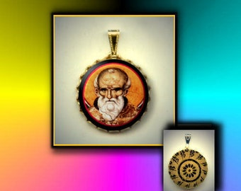 St Maximus the Confessor Orthodox Monk Saint hand pressed CABOCHON in Brass Charm / Pendant