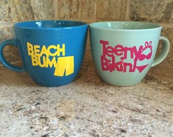 Beach inspired coffee mugs, coffee mugs, his and hers, gift