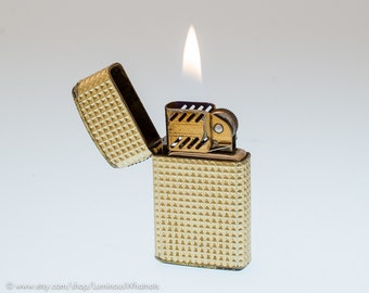 Working 1960s Austrian Champ Gild Trimlite Windproof Pocket Lighter for Pipes