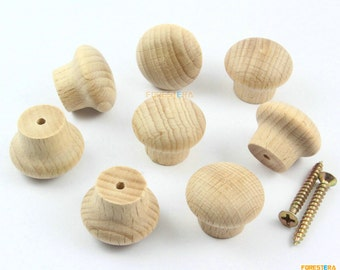 1Pcs 24mm Unfinished Wood Knob Wooden Dresser Handle Drawer Knob Pull Cabinet Cupboard Handle Knob (WKN40)