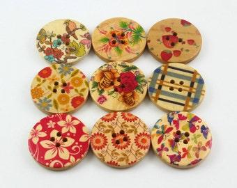 1 Set 45 Pieces 30mm Flower Painted Wood Buttons Floral Assortment Buttons (ZH42)