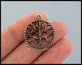 1 Bronze TREE of Life Circle Charms - 25mm Antiqued Bronze Round Textured Tree of Life Connector Link DIY Pendant - Instant Ship USA 6490