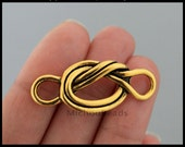 5 Infinity KNOT Charm Connectors - 40x17mm Curved Antiqued Gold Knot Link Connector Charm Tibetan Style - USA Wholesale DIY Craft - 6501