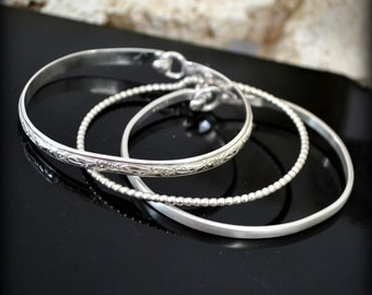"Sterling silver stacking latch bracelet set.  ""Triple play"""