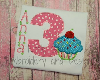Birthday Cupcake with Number - Appliqued and Personalized
