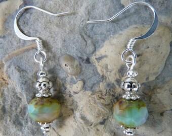 Czech Glass Earrings, Czech Glass Jewelry, Blue Earrings, Brown Earrings, Blue Czech Glass, Czech Glass, Brown Czech Glass Earrings