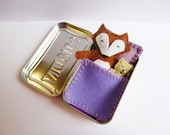 felt fox in tin - Fox in a Box purple bedding - wool felt fox & teddy bear in Altoids Tin - travel toy - purse toy - pocket toy - in stock
