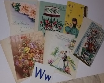 W 1950s 60's greeting card envelope lot 6 unused vintage paper ephemera art supplies illustrated flowers floral