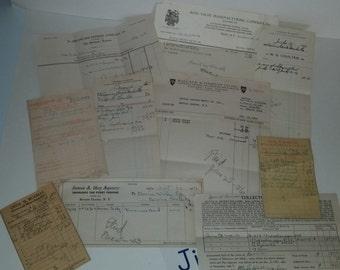J vintage paper supplies ephemera lot 10 pc receipts 1930's 1940's Bovina Center NY New York altered art scrap
