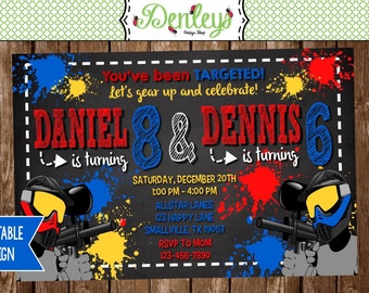 Joint Paintball Party Invitation (PB02)