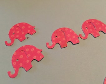 50 You Choose MODERN ELEPHANT DECOR pink with light orangish pink spots  or  pink, orange and light orangish color Confetti hand punched