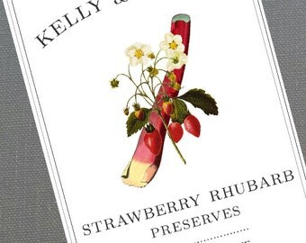 Classic strawberry Rhubarb  Canning Label, Sticker, or Canning Tag, set of 18