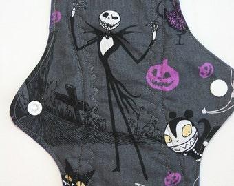 Kiki Mama Cloth Menstrual Pad Size Regular Nightmare Before Christmas on Gray / Grey  Jack  ~ Woven Cotton