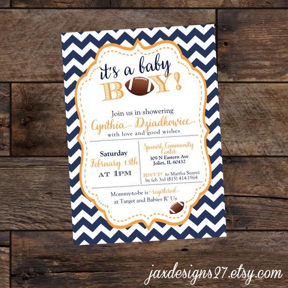 Boy Baby Shower Invitations Football Themed Baby Shower