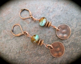 Copper Boho Dangle Earrings with Copper lever backs and Turquoise and Amber swirl beads Hammered Silver Disk Detail Great Gift