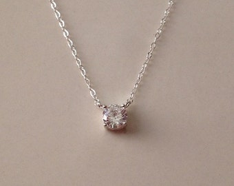 Tiny Crystal Necklace in Sterling Silver -April Birthstone Necklace -Tiny Diamond Necklace