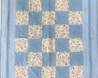 Vintage Handmade Crib Quilt, Throw or Wall Quilt, Blue Prints with Teddy Bears, Patchwork Quilt, 30 in x 35 in, Baby Boy Gift, Nursery Decor