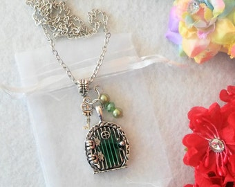 Magic Fairy Door Pendant with Key Charm Necklace
