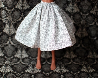 Minifee White Skull Halloween Skirt For MSD BJD