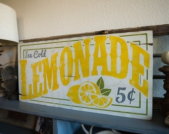 "15"" x 31"" Ice Cold LEMONADE - Distressed wood sign"