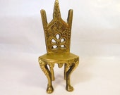 Vintage Metal Brass DOLLHOUSE CHAIR - Fancy - Tall Back - Doll House Furniture - Miniature - Toy - Fun - Fairy