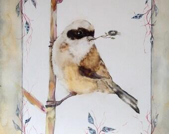 Card with little bird