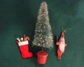Vintage Christmas Ornaments - 3 miniature, 1900s Pipe cleaner Santa, 1930s Felt Stocking full of toys, 1930s brush Tree in pot