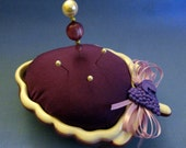 Handmade Pincushion - Base is a Lavender Ceramic Bunch of Grapes bowl with white edge, Purple cushion, lavender bow & grapes button trim