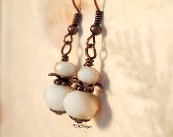 White and Copper Beaded Earrings, Copper  Earrings, Vintage Inspired Drop Pierced or Clip-on Earrings. OOAK Handmade Earrings. CKDesigns.US