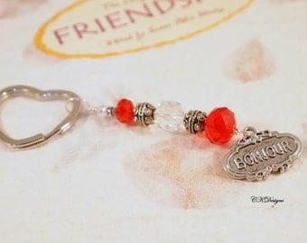 Paris Keychain. Bonjour Beaded Keyring. Gift for Her, Bag Charm, OOAK Handmade Keychain. CKDesigns.US