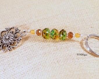 SALE Flower Key chain. Green Beaded Keyring. Gift for Her, Teacher Gift, OOAK Handmade Keychain. CKDesigns.US