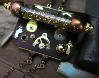 Steampunk jewelry, Mechanical vial pendant, Miniature control panel, Steam punk necklace, Watch parts gears gauges dials, Assemblage art