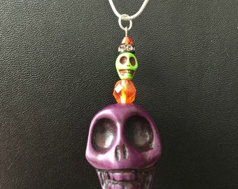 Sugar Skull Pendant - OOAK - In Purple Green and Orange Sugar Skulls Halloween Jewelry Skulls Dia de los Muertos All Saints Day