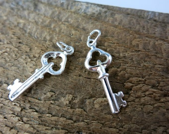 Sterling Silver Key Charm, 22x9mm, and Jumpring, Ready to Ship!