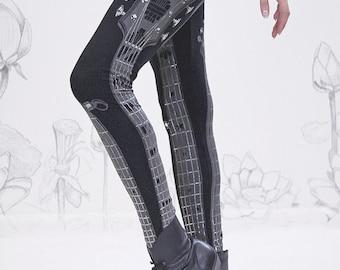 Guitar Legging Silver Strings  by Carousel Ink - BLACK guitar legs music leggings TIGHTS