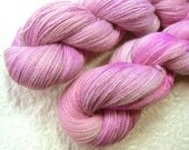 Petunia Pale, Baby Alpaca lace weight yarn, hand dyed / painted